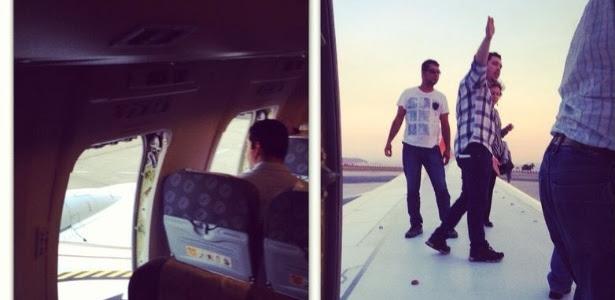 Passageiros quebram portas de emergência de avião da Gol e sobem em uma das asas após atraso