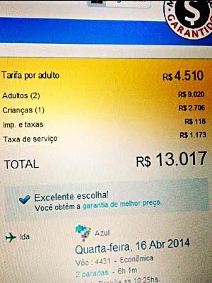 Reprodução de site com valores de voo de Brasília para Petrolina (Foto: Edson Gonçalves Duarte/VC no G1)