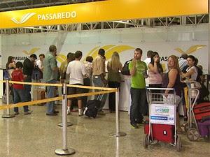 Guichê da Passaredo Linhas Aéreas, em RIbeirão Preto (Foto: Valdinei Malaguti/EPTV)
