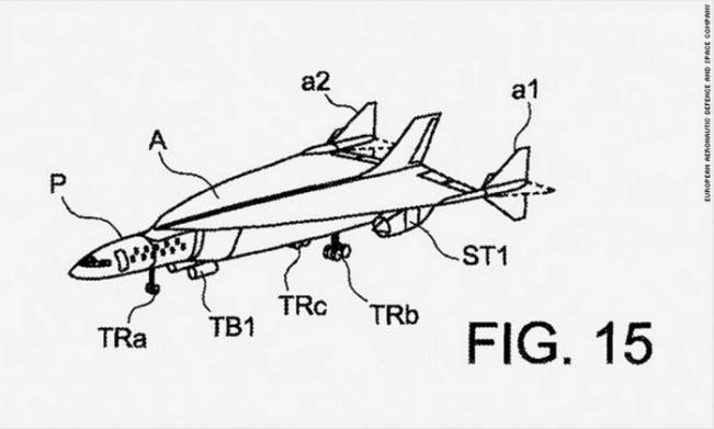 Desenho do modelo de jato supersônico da Airbus incluído no documento de registro